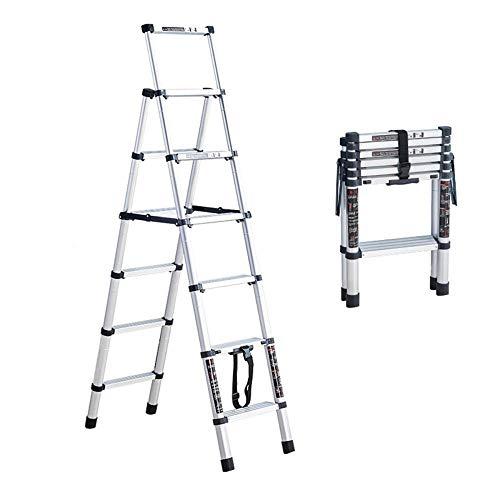 escalerilla domesticas escaleras plegables aluminio escalera escamoteable de pie de doble cara Ligera y segura con rodamiento 150 KG-6 peldaños