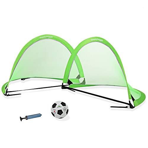 SteadyDoggie Soccer Goal Bundle 3pc (4 Foot) - Pop Up Football Nets Qty 2 - Nylon Wound Soccer Ball Size 4 with Pump - Carry Bag String Knapsack - Super Portable 4 Foot - Kids Soccer Training Nets