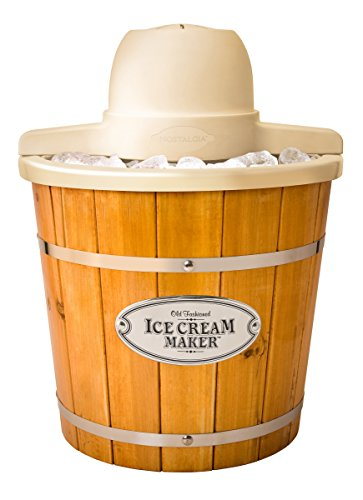 Nostalgia Electric Wood Bucket Ice Cream Maker, 4-Quart
