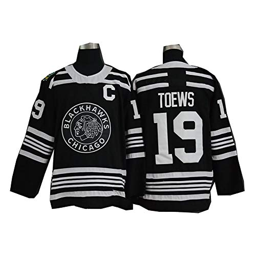 Yajun Jonathan Toews #19 Chicago Blackhawks Hockey Maillot Jerseys sur Glace NHL pour Homme Vêtements Sweatshirts Femme T-Shirt,Black,XL