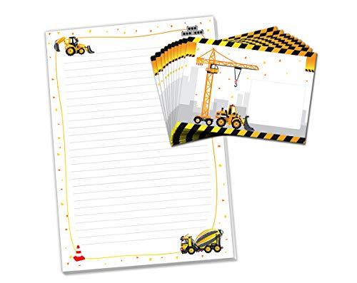 Briefblock mit Umschlag Baustelle für Kinder Briefpapier-Set (Block A4 mit 25 Blätter + 15 Umschläge)