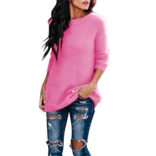 Pulls FNKDOR Femmes Arctique Velours Couleur Sweater Tops Chemisier Col Rond Manche Longue Chandail Chemisier weatshirt Blousons Veste(Rose Vif,3XL)