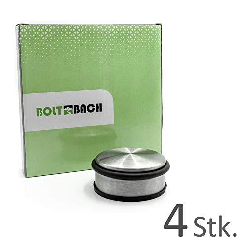BOLTBACH Türstopper aus Edelstahl - [4er Set] Extra Flacher Door Stopper - Door Stop mit Gummiring und gummiertem Boden für maximalen Halt