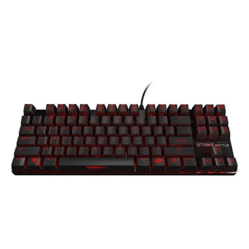 OZONE Strike Battle Gaming-Tastatur mit Hintergrundbeleuchtung, Cherry Red MX Mechanisch, kompakt, Schwarz