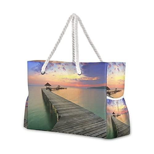 Große Strandtaschen Totes Canvas Tote Schultertasche Holzbrücke Panorama Sonnenuntergang Weg tropische Natur wasserabweisend Taschen für Fitnessstudio Reise täglich