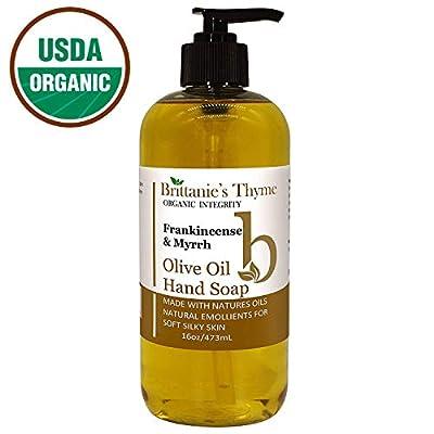 Organic Hand Soap, 16 oz - Made Olive Oil And Natural Luxurious Essential Oils. Vegan & Gluten Free (Frankincense & Myrrh)
