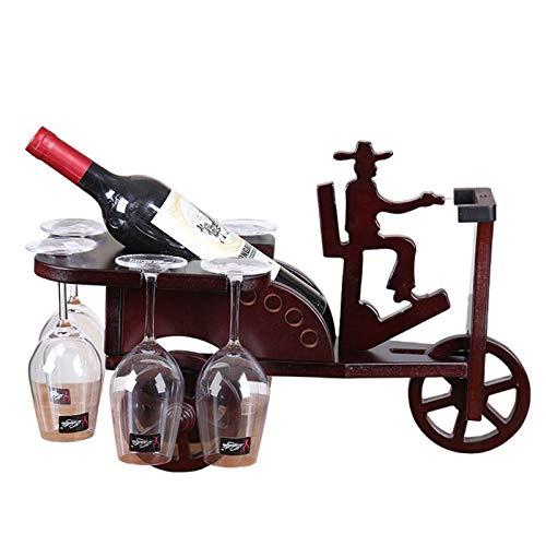 JTRHD Casier à vin de Bouteille European Wooden Wine Rack compountTop Rack Vin de vin Porte-Verre House Artisanat pour Armoire/Placard/comptoir (Couleur : Marron, Size : Medium)
