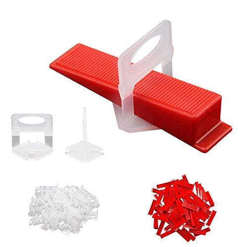 Xkfgcm Sistema de Colocación de Azulejos 100 piezas de Cuñas con 100 piezas de Base de Anillo de 1 mm de Grosor para Juntas Ancho 1 mm placa Altura 3 – 15 mm para Colocación de Baldosas