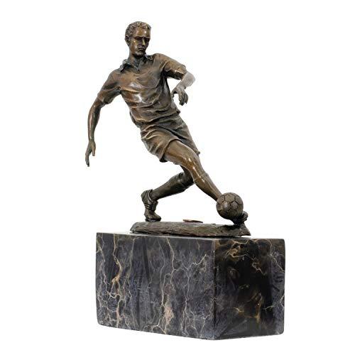 aubaho Statuette en Bronze Style trophée - Footballeur- Style Antique - Socle en marbre - 2,5 kg