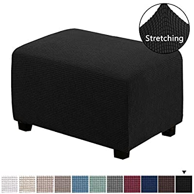 H.VERSAILTEX Form Fit Stretch Storage Ottoman Slipcover Spandex Elastic Rectangle Footstool Sofa Cover for Living Room
