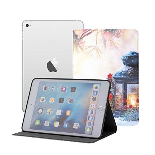 Funda iPad Mini 1/2/3 - Funda Inteligente con Soporte Giratorio de 360 Grados con función de Despertador automático, Linterna navideña en Rama de Abeto de Nieve