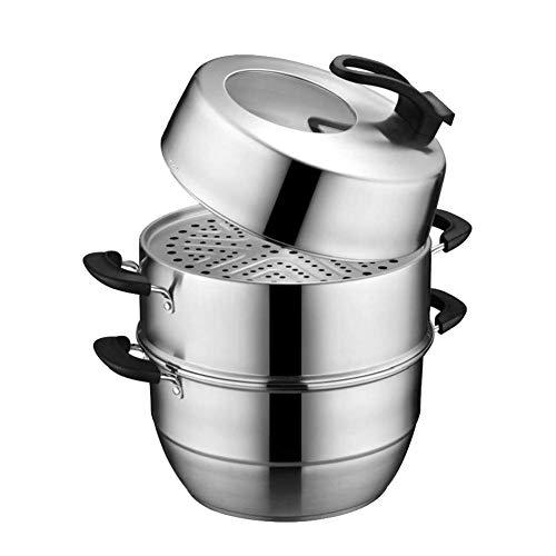 Edelstahl-Gemüsekochtopf-Set, 3-stufiger Dampfgarer, Kühlgriff, multifunktionaler energiesparender Dampfgarer,Dampfgarer-28CM