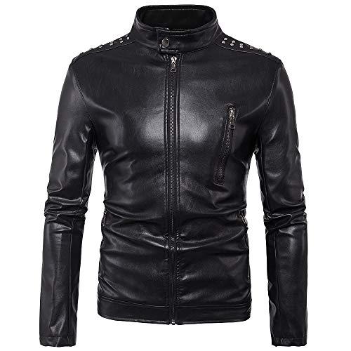 ECGZS Chaqueta para Hombre del Motorista de la Motocicleta Ocasionales de Cuero Suave del Faux Abrigos Racer Moto Outwear con el Hombro del Remache Diseño,Black-XL
