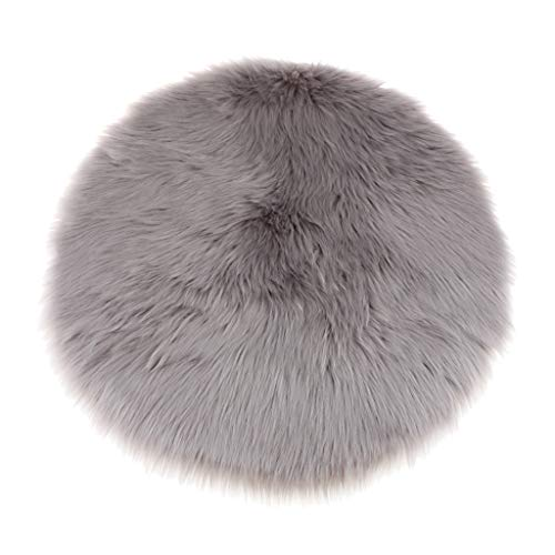 Fenteer Faux Fur Sheepskin Round Car Stool Seat Cushion Floor Mat Furry Sofa Pad - Gray, 40cm