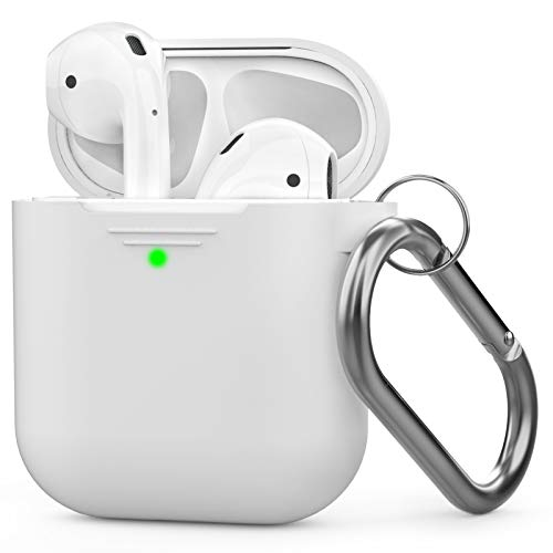 AhaStyle AirPods Case Cover Silicone [Front LED Visible & Supports Wireless Charging] Compatible with Apple Airpods 2&1(2019) (With Carabiner, White)