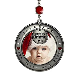 baby's first christmas ornament moon and back