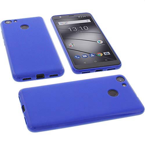 foto-kontor Tasche für Gigaset GS280 Hülle Gummi TPU Schutz Handytasche blau