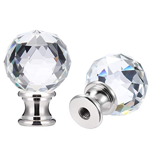 Canomo 2 Packs Lamp Finial Cap Knob Lamp Decoration for Lamp Shade, Clear, 1-3/4 Inches