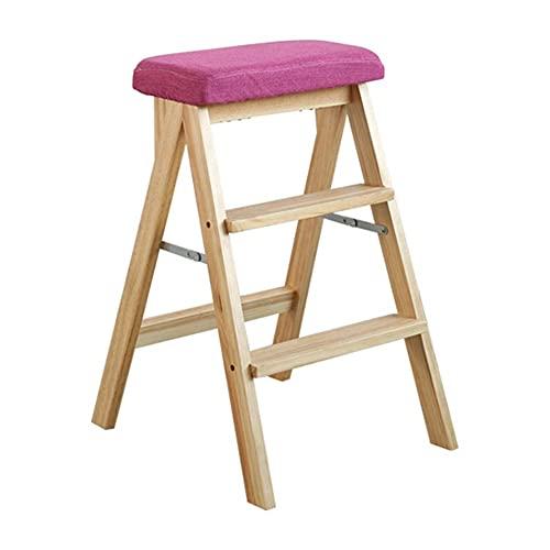 LZQBD Stegpallar, stege pall lager stark vikbar säkerhet halkfri fotdyna dubbel användning stege stol andra beställningen, massivt trä, A, 42 x 48 x 63 cm