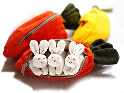 Pascua 3 Conejitos En Bolso De Zanahoria, Feliz Decoración De Conejito De Pascua, Regalos De CumpleañOs NavideñOs Para NiñOs Con Estuche Para LáPices En Forma De Zanahoria Creativa Cute Rabbit C