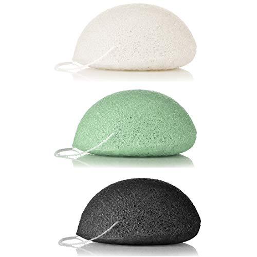 Esponja Konjac Facial 100% Naturales, 3 piezas Para la limpieza y exfoliación de la piel, Cuidado de la Piel, Limpieza Profunda, para todo tipo de pieles (Negro Carbón, Blanco y Verde)