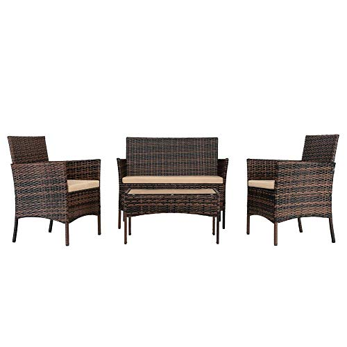 Wealthgirl Juego de 4 muebles de patio, juego de conversación de mimbre al aire libre con mesa de café de cristal templado, sofá y sillas de ratán con cojines de asiento para patio, jardín, piscina