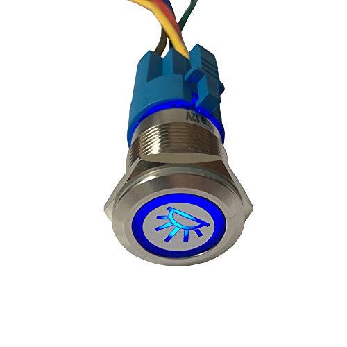 ESUPPORT 12V Car Vehicle Blue LED Light Interior Push Button Metal Toggle Switch Socket Plug 19mm