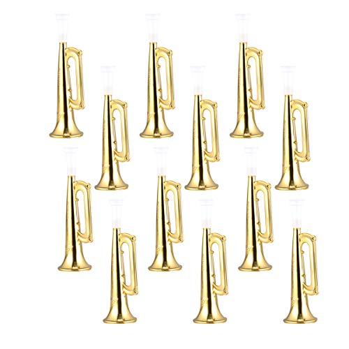 NUOBESTY 12 Stücke Kinder Trompete Fan Horn Plastik Partytröten Fußballspiel Krachmacher Spielzeug Party Fanartikel (Golden)