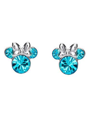 Disney Women's Jewelry Minnie Mouse Silver Plated Brass March Birthstone Stud Earrings
