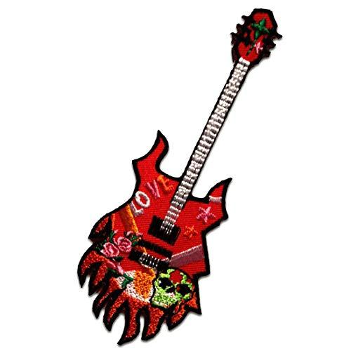 Gitarre - Aufnäher, Bügelbild, Aufbügler, Applikationen, Patches, Flicken, zum aufbügeln, Größe: 13,2 x 4,7 cm
