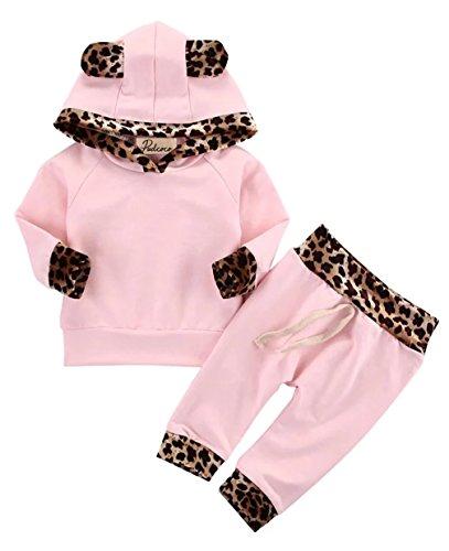 2pcs Infantil Bebé Niñas Ropa Conjuntos Rosa Impresión Manga Larga Tops Encapuchado + Rosa Pantalones (3-6 Meses, Rosa)