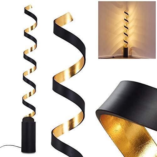 LED Stehlampe Rezat, Stehleuchte aus Metall in Schwarz/Gold, 30 Watt, 2400 Lumen, Lichtfarbe 3000 Kelvin (warmweiß), Standleuchte m. An-/Ausschalter am Kabel