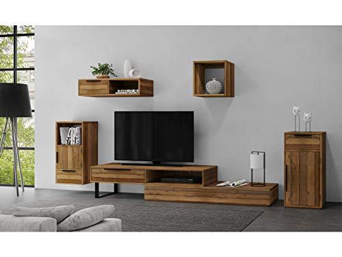 Woodkings® Wohnwand massiv Holz, 5teilig, Auckland, TV-Bank variabel erweiterbar, Kommode, Hängeregal, Wandboard, Würfel Wandregal, Schrankwand Wohnzimmer Möbel (Rec. Pinie, 1 Schub)