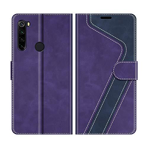 MOBESV Handyhülle für Xiaomi Redmi Note 8 Hülle Leder, Xiaomi Redmi Note 8 Klapphülle Handytasche Case für Xiaomi Redmi Note 8 Handy Hüllen, Violett/Dunkelblau