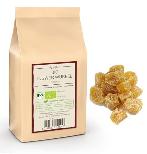 1kg de dés de gingembre BIO piquant - Cubes de gingembre sucré et confit de qualité bio supérieure, agréablement piquant et sans sulfites