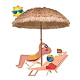 HXFAFA Parasol Sombrilla Protección UV con Trípode y Bolsa de Agua Desmontable Parasol para Terraza Jardín Playa Balcón Piscina Patio, Color Natural