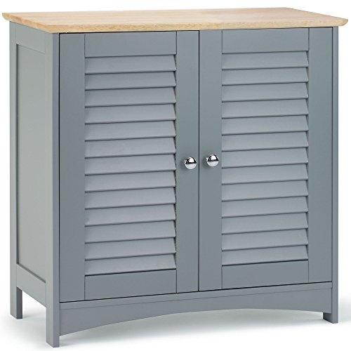 VonHaus Handtuchschrank – Badezimmerschrank mit 2 Regalfächern – Modernes Grau – Lamellentüren