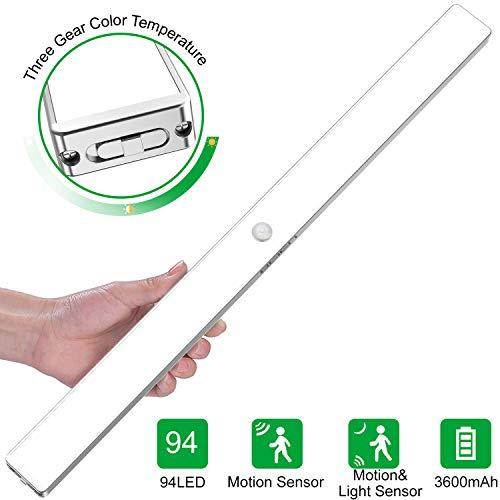 BEIEN luces del armario con sensor movimiento, 94LED Sensor luz del armario, Sensor de Movimiento Recargable 4 Modos con Cinta Adhesiva Magnética para Armario,Pasillo,Escalera,Cocina