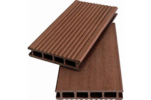 Terrassendiele WPC Hohlkammerdiele rehbraun 20 x 120 mm, 5 Meter lang,geriffelt/glatt, beidseitig begehbar