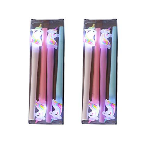 Toyvian 2 set/8pcs Penne Luminose Penne a Led Design Unicorno Penne Forniture per Cancelleria Scuola per Bambini