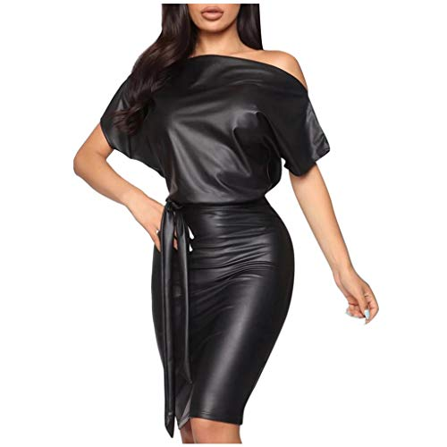 Schulterfrei Schwarz Lederkleid Damen PU Leder Kleid Minikleid Winter Wickelkleid Elegant Off Shoulder Etuikleid Bleistiftkleid Bodycon Clubwear Dress Cocktail Party Abend Kleider Leder Lack Optik