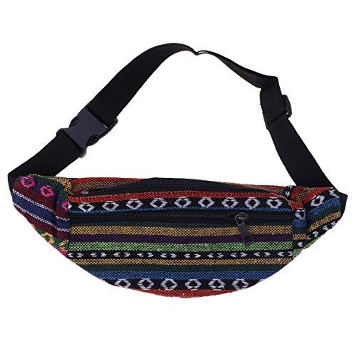 TENDYCOCO riñonera Estilo étnico Bolso de Cintura de Lona Estampada Bolso de Hombro Bandolera cinturón Monedero para niña Mujer