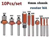 NoLOGO 10pcs / Set de 6 mm Flush caña Profesional Recorte Router Madera bit con Valor de tungsteno de la Madera Talla de Grabado del Ajuste de la Herramienta de Corte (tamaño : 10pcs)