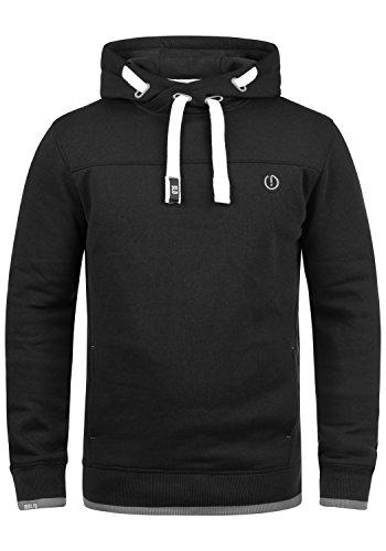 !Solid Benjamin Hood Herren Kapuzenpullover Hoodie Pullover Mit Kapuze Cross-Over-Kragen Und Fleece-Innenseite, Größe:L, Farbe:Black (9000)