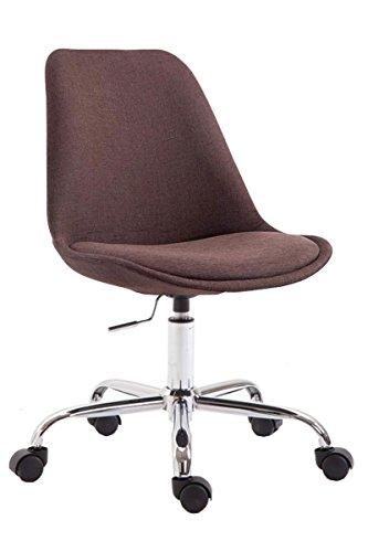 CLP Bürostuhl Toulouse mit Stoffbezug | Schreibtischstuhl mit Laufrollen | Drehstuhl mit Metallgestell in Chrom-Optik | Mit Farbwahl, Farbe:braun
