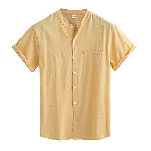 HebeTop Mens Linen Henley Shirt Casual Short Sleeve T Shirt Pullover Tees Lightweight Curved Hem Cotton Summer Beach Tops Yellow