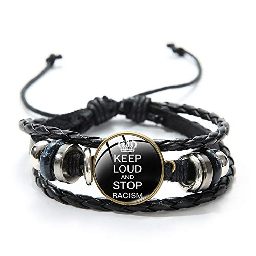 Stop Racism Eliminate Racism Bracelets Leather Glass Cabochon Pendant Bangle Gift for Dad Jewellery Spirit Souvenirs