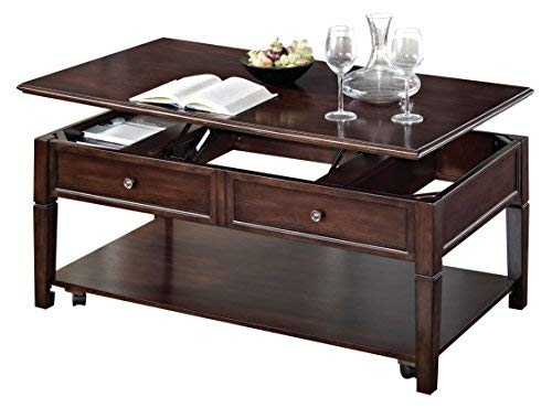 Benzara Wooden Coffee Table with Lift Top, Walnut Brown
