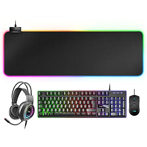 Mars Gaming MCPEXES, Combo Teclado H-Mech+Ratón+Auriculares RGB+Alfombrilla RGB XXL, ES