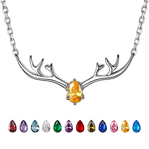 Antler Necklace 925 Sterling Silver Reindeer Animal Horn Jewelry Minimalist Style Clavicle Chain with Personalized Birthstone Charm Deer Antler Charm Necklaces - Nov. Yellow Topaz